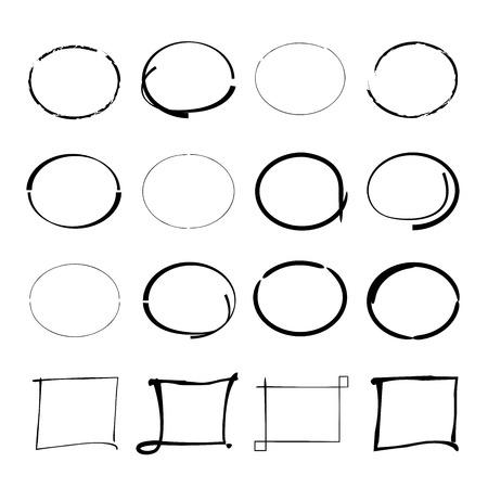 emphasis: hand drawn circles, rectangles Illustration