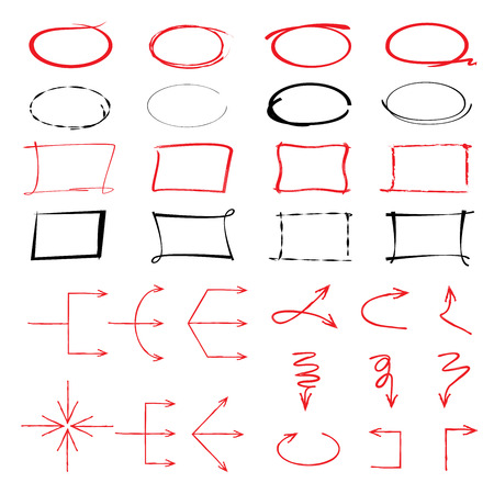 emphasis: arrows, circles, highlighter elements