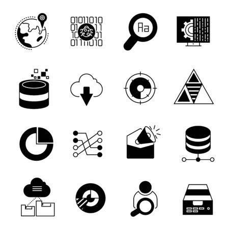 keywords link: data analytics and network icons Illustration