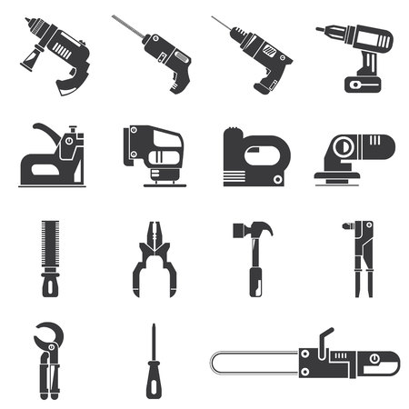 staple gun: drill, mechanic tool icons Illustration