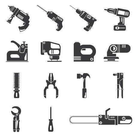 mecanico: taladro, iconos de herramientas mecánicas Vectores