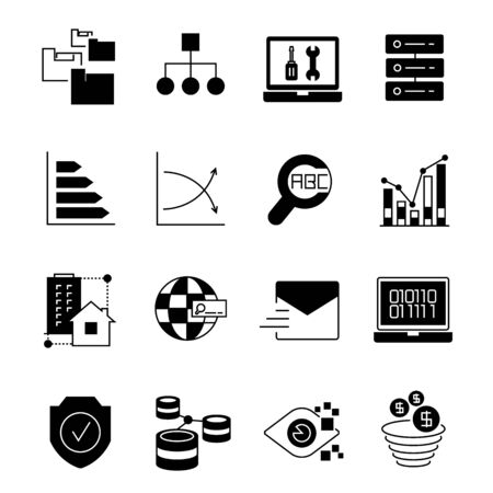keywords link: data and network icons Illustration