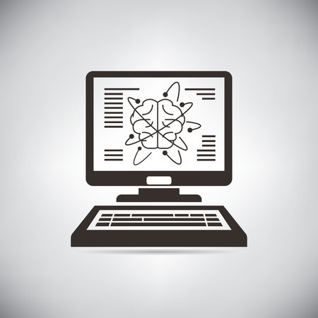 programing: computer brain, artificial intelligence concept Illustration