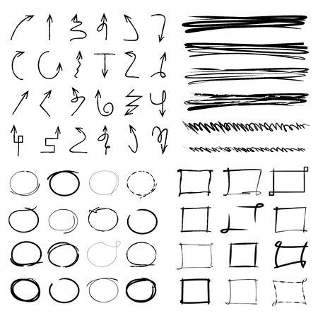 flecha: Elementos de luces y marcadores, flechas, subraya, círculos grunge Vectores