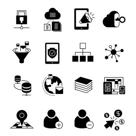 media icons: network and media icons Illustration