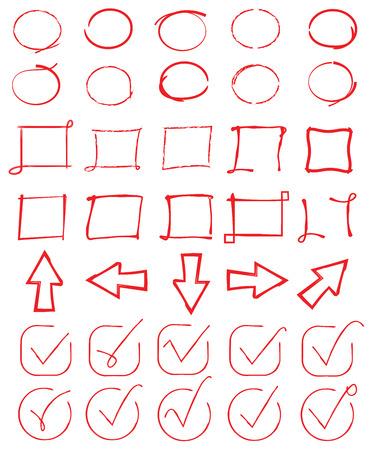 赤丸、チェック マーク、矢印