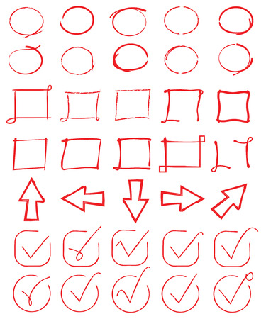 marks: red circles, check marks, arrows