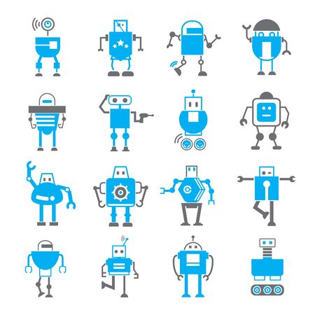 artificial intelligence: robot icons, artificial intelligence robots Illustration