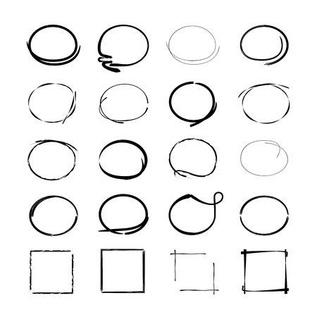 蛍光ペン要素、グランジ円、長方形フレーム  イラスト・ベクター素材