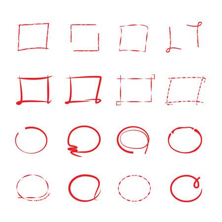 highlighter: highlighter elements, red circles, frames