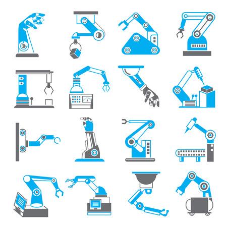 mano robotica: mano rob�tica en iconos del proceso de fabricaci�n Vectores