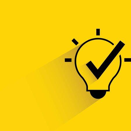 check icon: light bulb and check mark Illustration