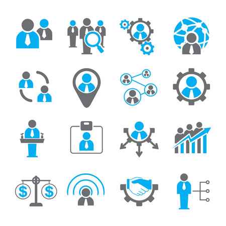 global work company: human resources management icons