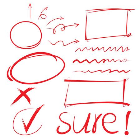 赤い円、チェック マーク、矢印