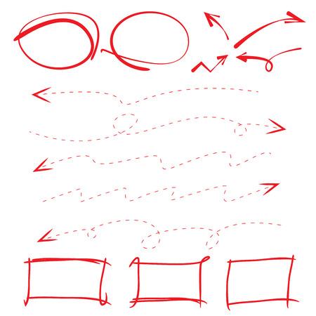 markeren elementen, markers, gestippelde pijl Stock Illustratie
