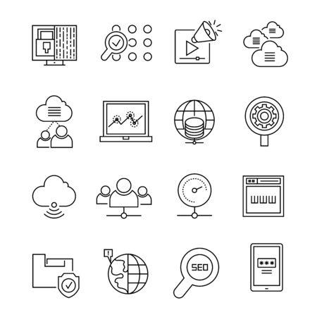 optimization: search engine optimization icons Illustration
