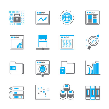 tecnologias de la informacion: iconos de análisis de datos, tecnología de la información