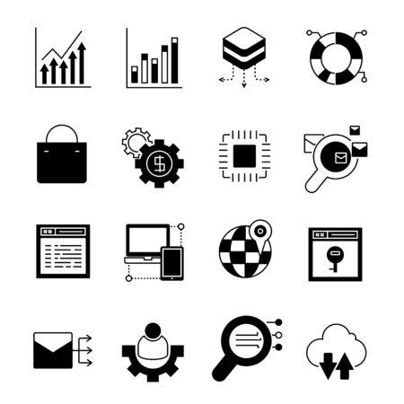 computer keys: data analytics icons Illustration