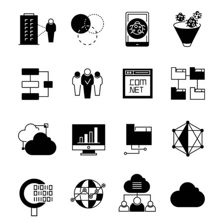 binary file: data and cloud computing icons