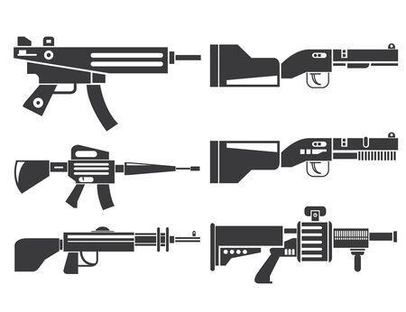 pistola: iconos del arma Vectores
