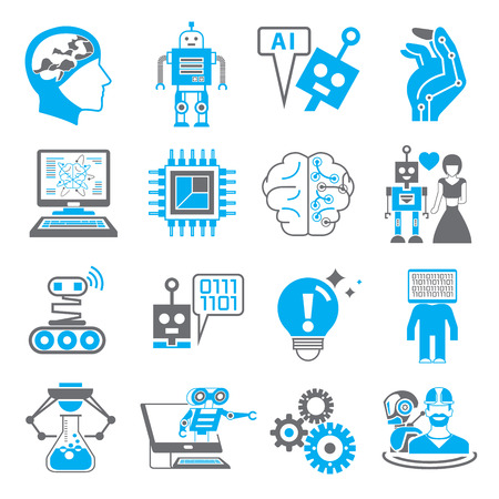 artificial model: robotics and artificial intelligence icons