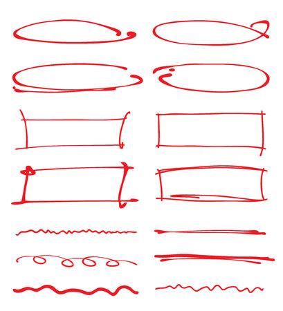 emphasis: red circles, frames, underlines