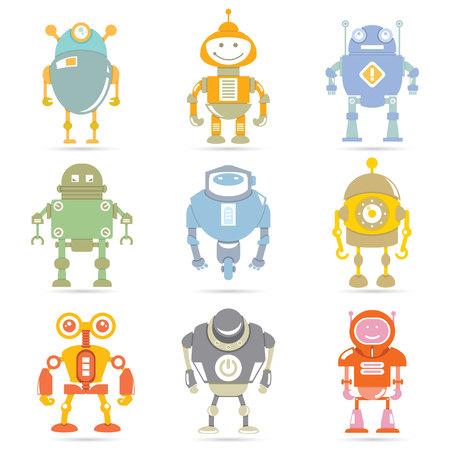 cartoon characters: cute robots