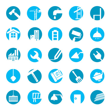 construction tools icons Vettoriali