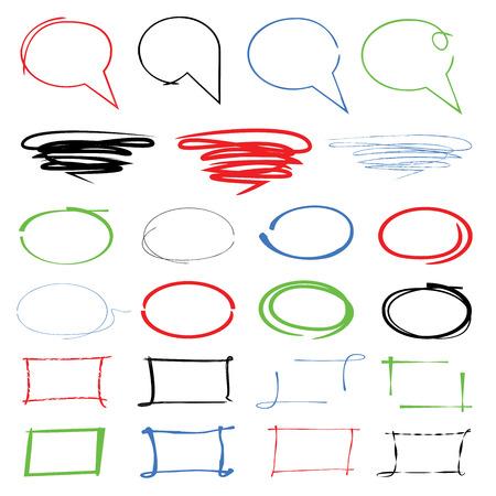 highlight: highlight markers, hand drawn speech bubbles Illustration