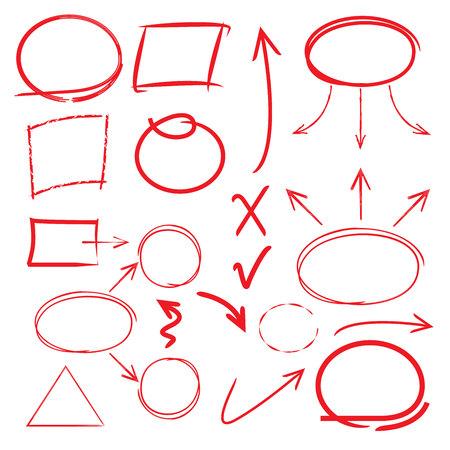 highlight elements, circles, arrows, lines Illustration