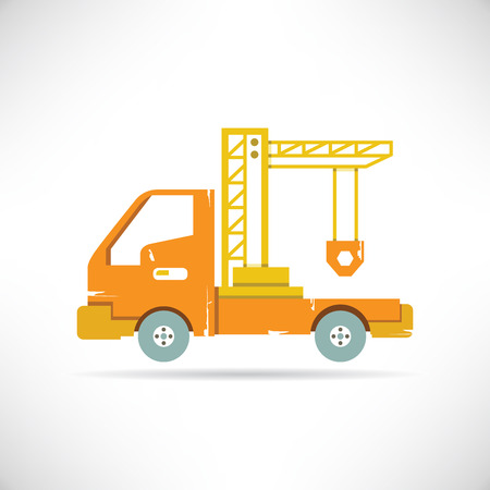 steel construction: truck and crane