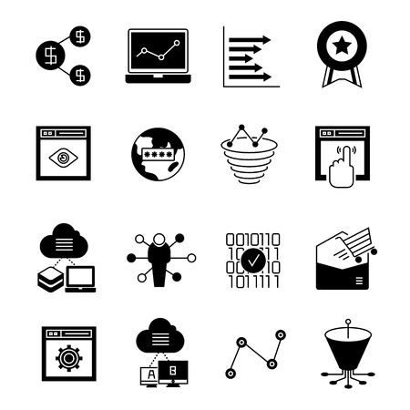 search engine optimization: search engine optimization icons, web icons Illustration