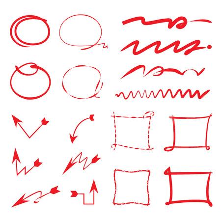 emphasis: highlighter elements, circle line, arrows Illustration