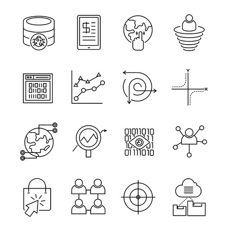 web solution: data analytics and web solution icons