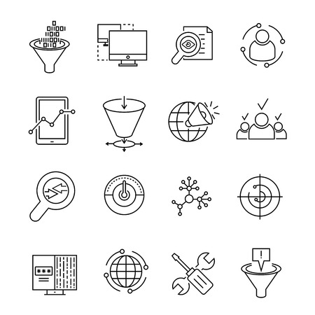 web icons: data analytics and web solution icons