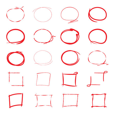red hand: highlighter circles and rectangle frame Illustration