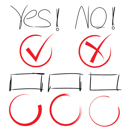 yes no: yes, no hand drawn markers Illustration