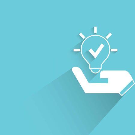 envisage: idea, hand holding light bulb sign on blue background Illustration