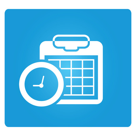 scheduling sign on blue background