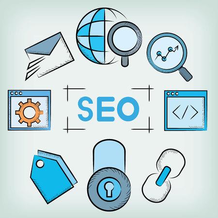 keywords link: SEO elements concept Illustration