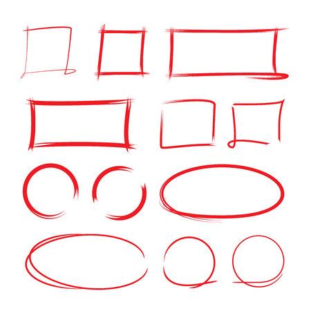rectangular: highlighter elements, hand drawn circles Illustration