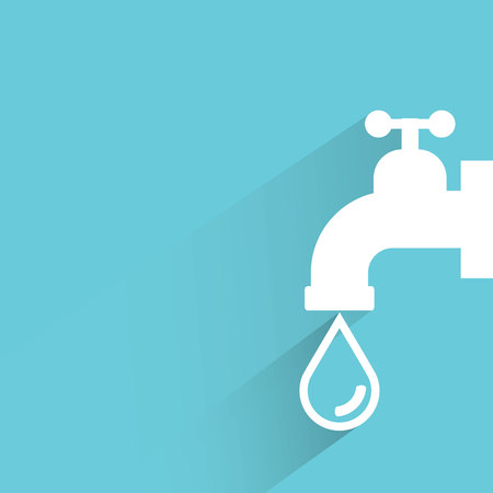 save water: water tap on blue background