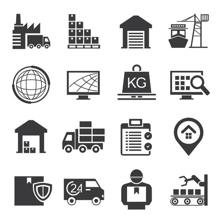 logistics,  supply chain icons Stock Illustratie