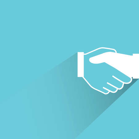 commercial sign: handshake on blue background