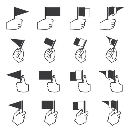 surrendering: hand holding flag icons Illustration