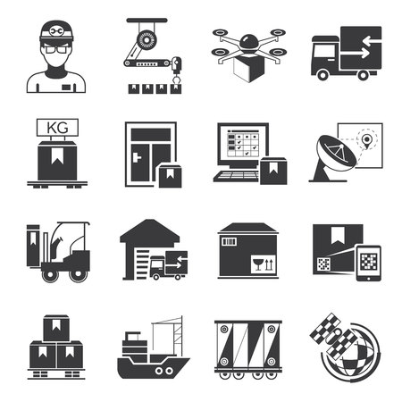 supply chain: supply chain, shipping icons
