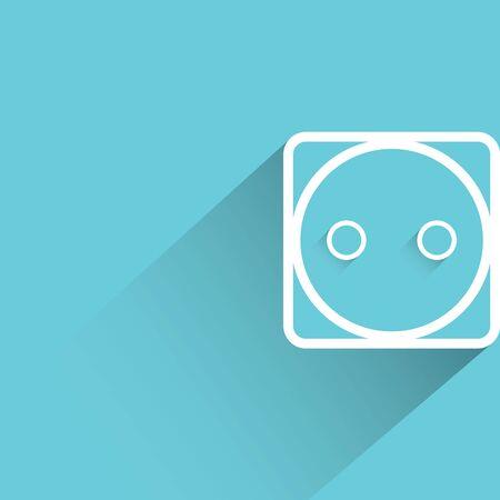 outlet: Electric outlet on blue background Illustration