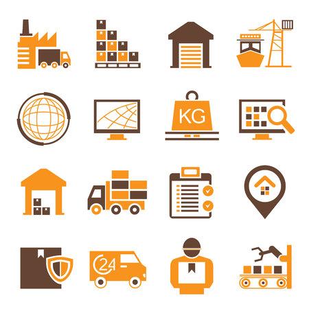 gestion: iconos cadena de suministro