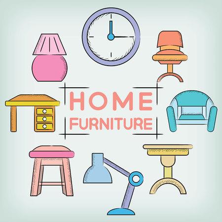 home design: home design, home furniture Illustration