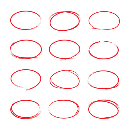 circle icon: hand drawn circle markers Illustration